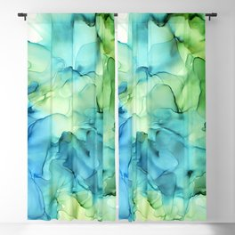 Blue Green Spring Marble Abstract Ink Painting Blackout Curtain