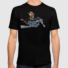 skull ride a big motorcycle T-shirt
