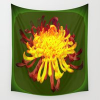 avocado Wall Tapestries featuring Golden-Russet Spider Chrysanthemum on Avocado  by SharlesArt