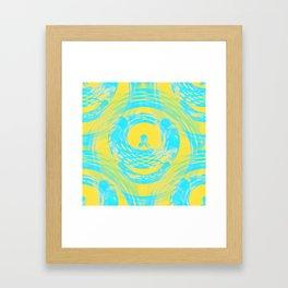 Abstract Aqua and Yellow Framed Art Print