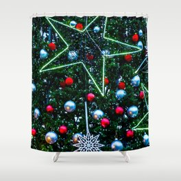 Decorated Christmas Tree, Stars, Balls Shower Curtain