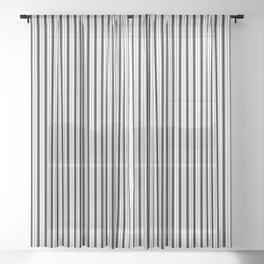 Black and White Princess Elizabeth Regal Stripe Sheer Curtain