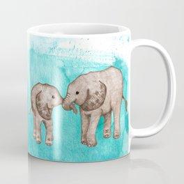 Baby Elephant Love - sepia on watercolor teal Coffee Mug