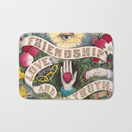 Friendship Love and Truth Vintage Illustration, 1874 Bath Mat