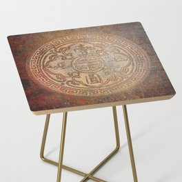 Antic Chinese Coin on Distressed Metallic Background Side Table
