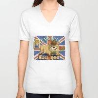 english bulldog V-neck T-shirts featuring English Bulldog by Brian Raszka Art & Illustration