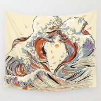 inspirational Wall Tapestries featuring The Wave of Love by Huebucket