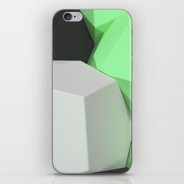 Pattern of white, green and black hexagonal elements iPhone Skin