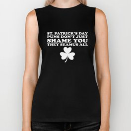 St. Patricks Day Puns They Seamus All Meme Clover Biker Tank
