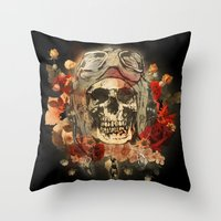 kindle Throw Pillows featuring 301 by ALLSKULL.NET