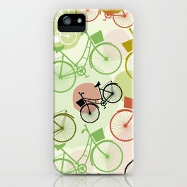 Vintage bicycles, seamless pattern, pastel green brown beige colors iPhone Case