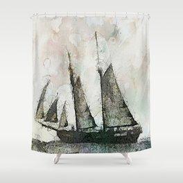Schooner - vintage art Shower Curtain