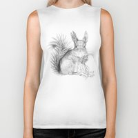 squirrel Biker Tanks featuring Squirrel by Ora Kolmanovsky