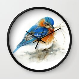 Eastern Bluebird Nesting Wall Clock