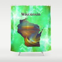 wisconsin Shower Curtains featuring Wisconsin Map by Roger Wedegis