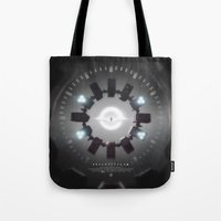 movie poster Tote Bags featuring INTERSTELLAR movie poster by yurishwedoff