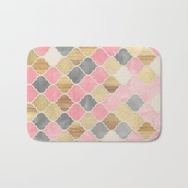 Silver Grey, Soft Pink, Wood & Gold Moroccan Pattern Bath Mat