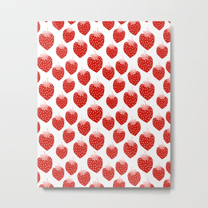 Strawberries - trendy fresh tropical fruit vegan vegetarian juice juicing cleanse Metal Print