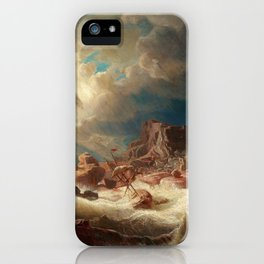 Marcus Larson - Stormy Sea With Ship Wreck iPhone Case
