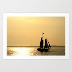 Silhouette Ship Art Print