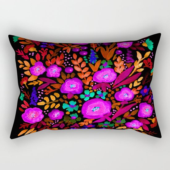 Watercolor colorful flower pattern on a black background . Rectangular Pillow