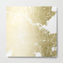 Amsterdam Gold on White Street Map Metal Print