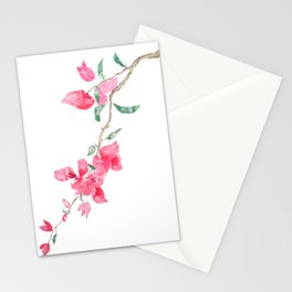 red  pink  bougainvillea watercolor Stationery Cards