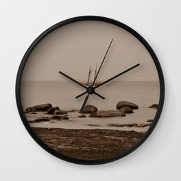 Tall ship out past the point sepia finish Wall Clock