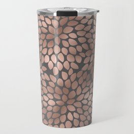 Rosegold flowers - abstract floral elegant pattern on grey background Travel Mug