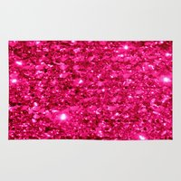 sparkle Area & Throw Rugs featuring SparklE Hot Pink by 2sweet4words Designs