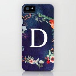 Personalized Monogram Initial Letter D Floral Wreath Artwork iPhone Case