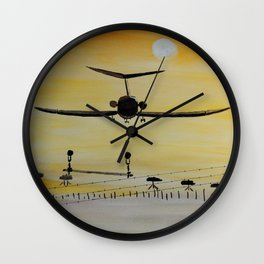 Yellow last flight Wall Clock