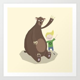 Boy and Bear Art Print