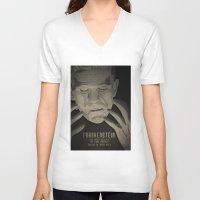 frankenstein V-neck T-shirts featuring Frankenstein by James Northcote
