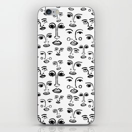 Funky Faces in White iPhone Skin