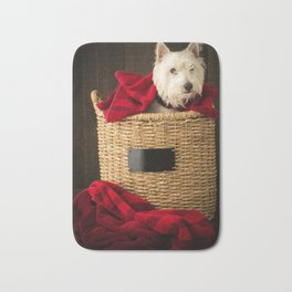 Puppy in the Laundry Basket 2 Westie Dog Bath Mat