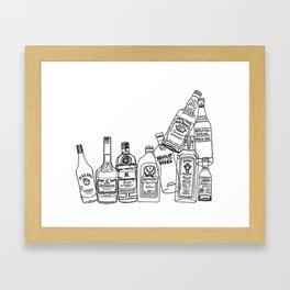 Alcohol Bottles (White) Framed Art Print