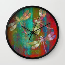 Colorful Dragonflies Wall Clock
