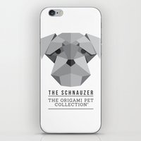 schnauzer iPhone & iPod Skins featuring The Schnauzer by The Origami Pet Collection