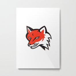 Red Fox Angry Head Retro Metal Print