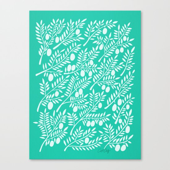 Turquoise Olive Branches Canvas Print