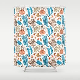 Coral Reef Watercolor Pattern- Teal Shower Curtain