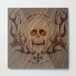 Heavy Metal Skull Metal Print