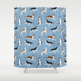 Husky Pattern (Blue Gray Background) Shower Curtain