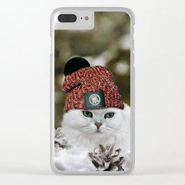 Portrait of a Cat in a red Hat. Clear iPhone Case