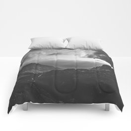 Valley - black and white landscape photography Comforters
