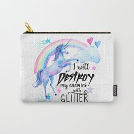 Destroy With Unicorn Glitter Carry-All Pouch