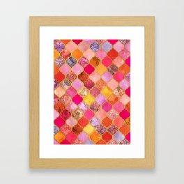 Hot Pink, Gold, Tangerine & Taupe Decorative Moroccan Tile Pattern Framed Art Print