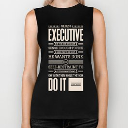 Lab No. 4 The Best Executive Theodore Roosevelt Inspirational Quote Biker Tank