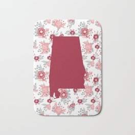 Alabama state silhouette university of alabama crimson tide floral college football gifts Bath Mat